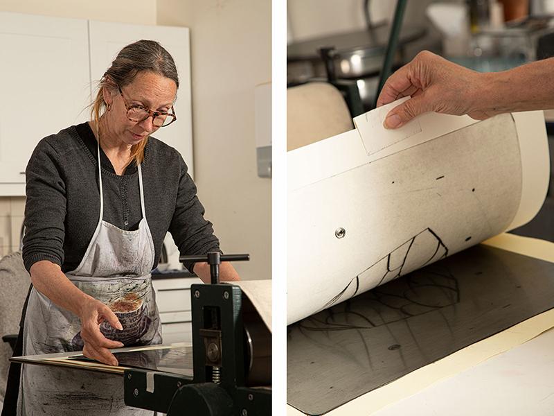 Elisabeth Mathisen på atelieret. (Foto: Mats Linder)