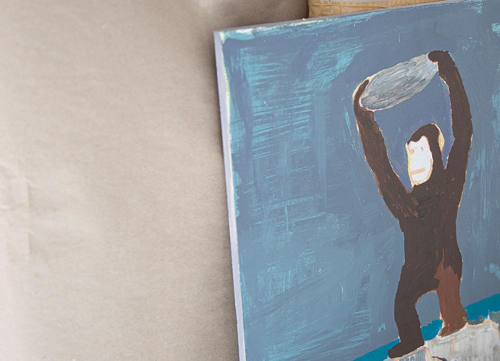 Maleriet med apen er blitt utstilt på Landsforbundet Norske Malere. (Foto: Mats Linder)