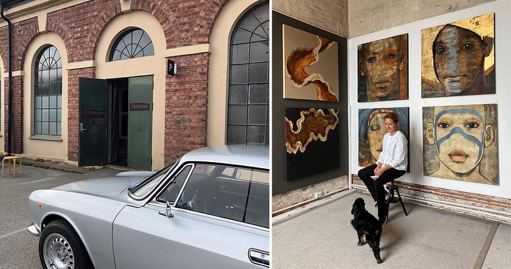 Inngangen til Vibeke Jerkaas Schelins atelier og inni.