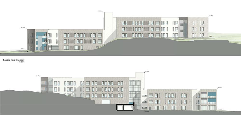 Fasade, nord og sør. Onsøyheimen sykehjem, Fredrikstad kommune.