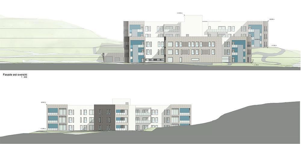 Fasadetegning, øst og vest. Onsøyheimen sykehjem, Fredrikstad kommune.